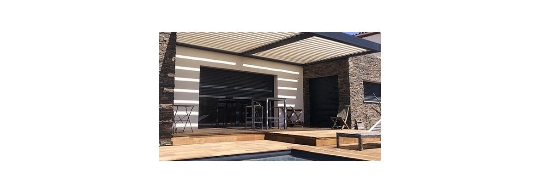 Pergola en alu autoportée, pergola adossée au mur, pergola autoportante en aluminium - Aquatech Spa